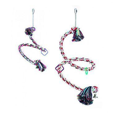 اسباب بازی طنابی آویز مارپیچ نوبی در چند رنگ ،مخصوص طوطی سانان ، قطر 3.5 سانتی متر، طول 225 سانتی متر