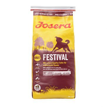 غذای خشک فستیوال جوسرا مخصوص سگ بالغ کلیه نژادها حاوی گوشت ماهی سالمون بهمراه سس مخصوص با قابلیت مصرف بصورت خشک و یا مرطوب شده  1500gr