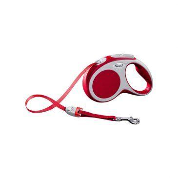 قلاده متری نواری واریو فلکسی، رنگ قرمز، سایز کوچک با بند 5 متری، برای سگ تا وزن 15 کیلوگرم