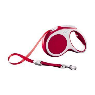 قلاده متری نواری واریو فلکسی، رنگ قرمز، سایز متوسط با بند 5 متری، برای سگ تا وزن 25 کیلوگرم
