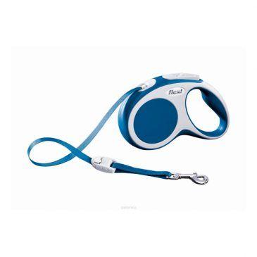 قلاده متری نواری واریو فلکسی، رنگ آبی، سایز متوسط با بند 5 متری، برای سگ تا وزن 25 کیلوگرم