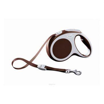 قلاده متری نواری واریو فلکسی، رنگ قهوه ای، سایز متوسط با بند 5 متری، برای سگ تا وزن 25 کیلوگرم