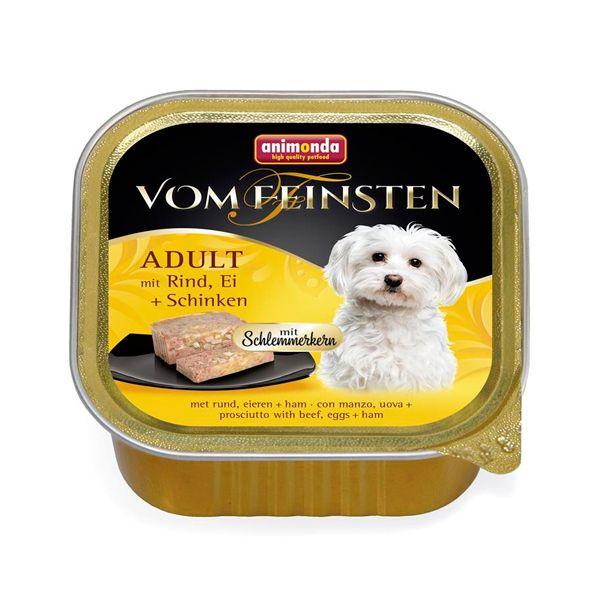 خوراک کاسهای ووم فیستن مغزدار حاوی گوشت گاو، تخم مرغ و گراز مخصوص سگ بالغ 150gr