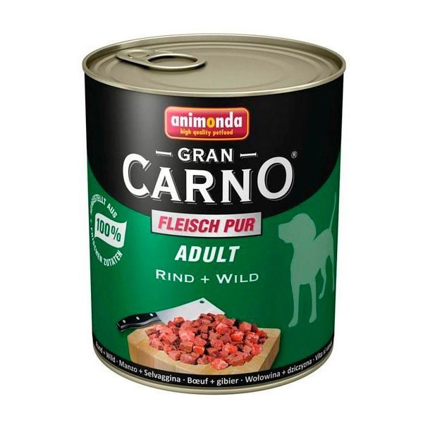 كنسرو گرن کارنو حاوی گوشت گاو و گوشت شکار مخصوص سگ بالغ 800gr