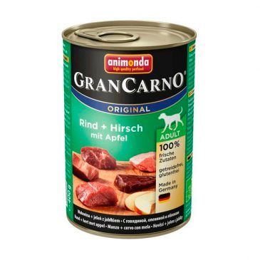 كنسرو گرن کارنو حاوی گوشت گاو، گوشت گوزن و سیب مخصوص سگ بالغ 400gr
