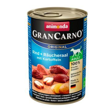 كنسرو گرن کارنو حاوی گوشت گاو، مار ماهی دودی و سیب زمینی مخصوص سگ بالغ 400gr