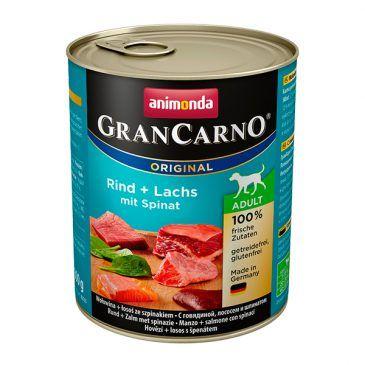 كنسرو گرن کارنو حاوی گوشت گاو، ماهی سالمون و اسفناج مخصوص سگ بالغ 800gr