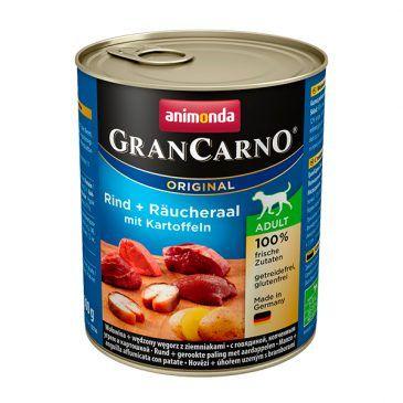 كنسرو گرن کارنو حاوی گوشت گاو، مار ماهی دودی و سیب زمینی مخصوص سگ بالغ 800gr