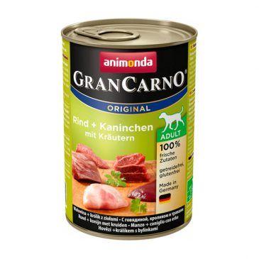 كنسرو گرن کارنو حاوی گوشت گاو، خرگوش و سبزیجات مخصوص سگ بالغ 800gr