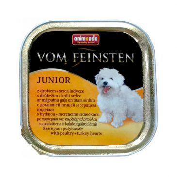 خوراک کاسهای ووم فیستن حاوی گوشت پرندگان و دل بوقلمون مخصوص توله سگ 150gr
