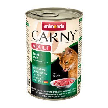 کنسرو کارنی پته حاوی گوشت گاو، گوزن و میوه کرنبری مخصوص گربه بالغ 200gr
