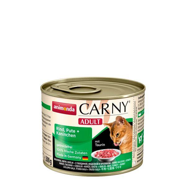 کنسرو کارنی پته حاوی گوشت گاو، بوقلمون و خرگوش مخصوص گربه بالغ 200gr