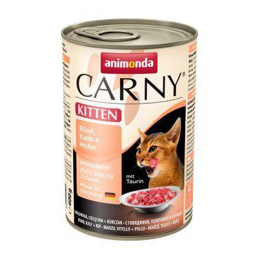 کنسرو کارنی پته حاوی گوشت گاو، گوساله و مرغ مخصوص بچه گربه 400gr