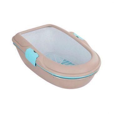 توالت گربه استفان پلاست مدل شیک فوربا شامل 2 ظرف متحرک و یک ظرف مشبک، بدون نیاز به بیلچه، رنگ آبی فیروزه ای و خاکستری، ابعاد 22*59*39 سانتی متر