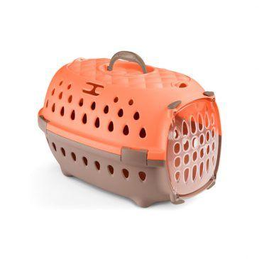 باکس حمل استفان پلاست مدل تراول شیک با کف ضد سر خوردن و درب پلاستیکی رنگ گلبهی - ابعاد 32*50*34.5 مناسب برای حیوان تا وزن 7 کیلوگرم