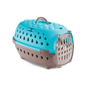 باکس حمل استفان پلاست مدل تراول شیک با کف ضد سر خوردن و درب پلاستیکی رنگ آبی فیروزه ای - ابعاد 32*50*34.5 مناسب برای حیوان تا وزن 7 کیلوگرم