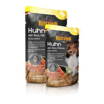پوچ گوشت مرغ + برنج، هویج و کدو سبز بلکاندو مخصوص سگ بالغ 300gr