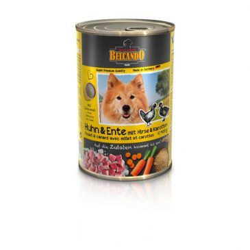 کنسرو مرغ و اردک + ارزن و هویج بلکاندو مخصوص سگ بالغ 400gr