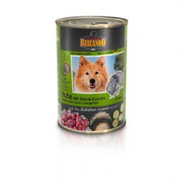 کنسرو گوشت بوقلمون + برنج و کدو سبز بلکاندو مخصوص سگ بالغ 800gr