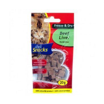 اسنک تشویقی گربه/ تکه های لذیذ حاوی جگر گاو/ DELI CAT FREEZE DRY BEEF LIVER