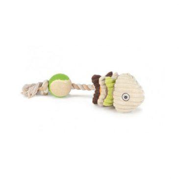 اسباب بازی دندانی سگ با طناب و توپ تنیس