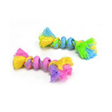اسباب بازی دندانی توله سگ- طناب کتانی با حلقه های رابر