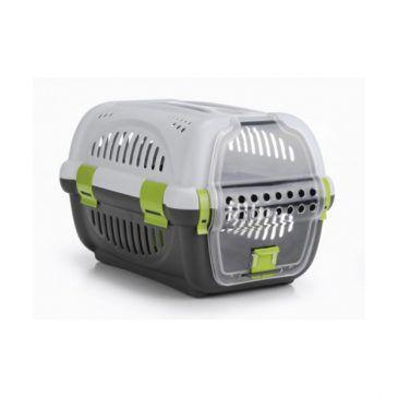 باکس حمل Rhino با درب پلاستیکی مخصوص سگ های کوچک و گربه/ طوسی - سبز