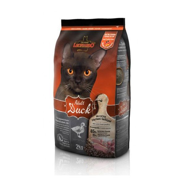 غذای خشک اردک و برنج لئوناردو مخصوص گربه حساس و بدغذا 2000gr