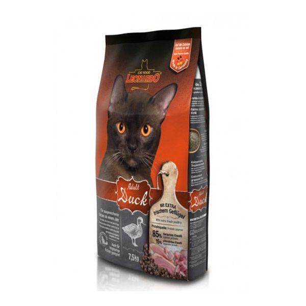 غذای خشک اردک و برنج لئوناردو مخصوص گربه حساس و بدغذا 7500gr