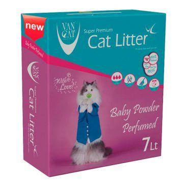 خاک گربه ون کت اولتراکلامپینگ با رایحه پودر بچه حاوی مواد آنتی باکتریال - کارتن 7 لیتری